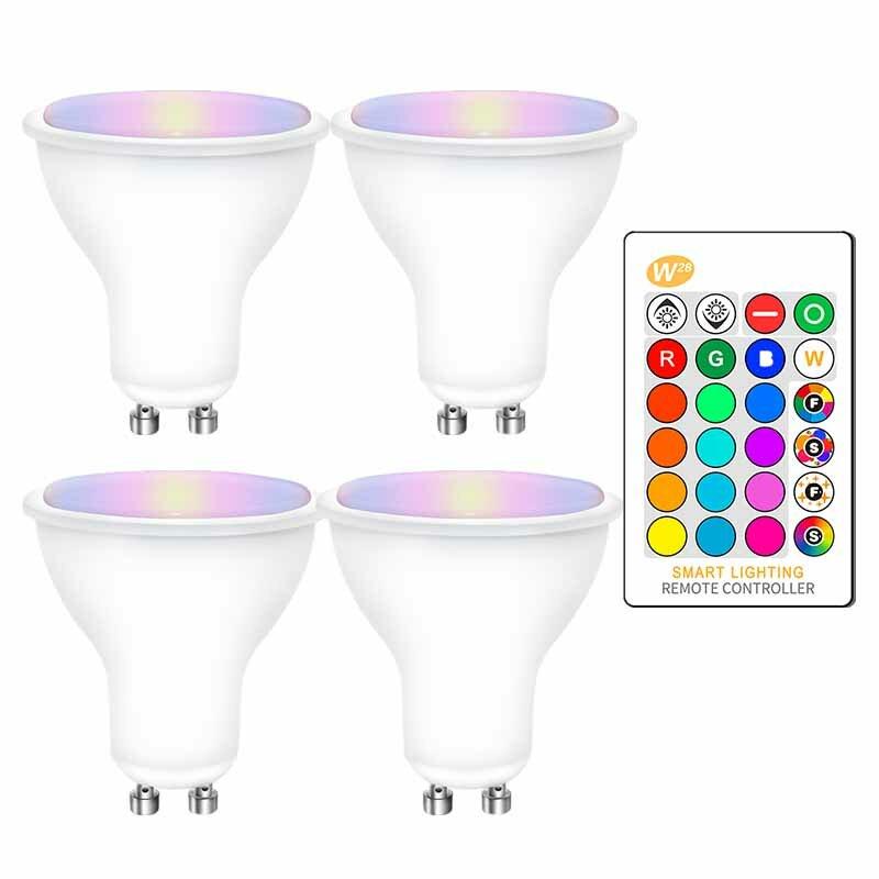 4 قطعة GU10 RGB LED لمبات 8 واط GU10 RGBW RGBWW Led مصباح أبيض/دافئ الأبيض غو 10 مع 16 ألوان IR التحكم عن بعد الذاكرة وظيفة
