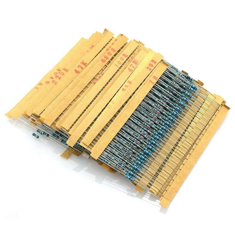 Kit surtido de resistencias de película metálica, 600 unidades, 10 -1M Ohm 1/4W, resistencia 1%, 30 tipos cada valor, 20 unidades