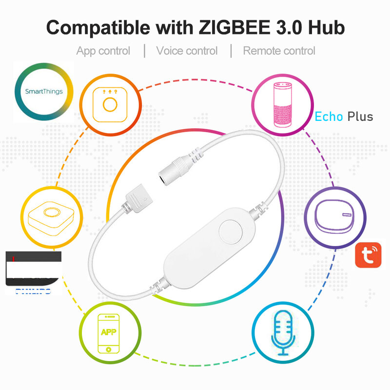 5M DC12V 5050 RGB + CCT 90LED/m LED 스트립 라이트 Zigbee RGBCW 미니 컨트롤러 전원 키트, Smartthings ZIGBEE 3.0 H * u * E 에코 플러스
