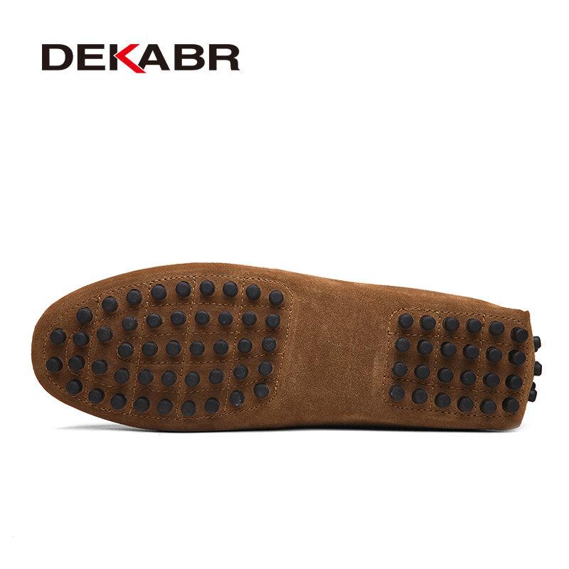 DEKABR — Mocassins souples pour homme, de conduite, en cuir véritable, de grande taille 50, d'haute qualité, printemps et automne