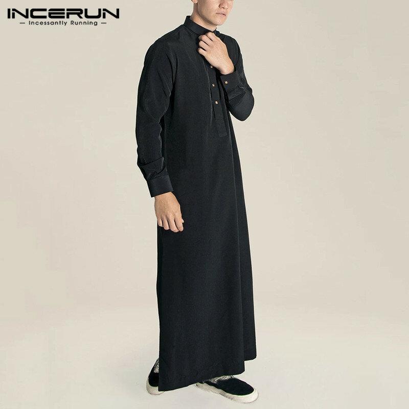 Los Hombres Musulmanes Jubba Thobe Islámica árabe Kaftan Color Sólido Trajes De Manga Larga De Dubai Abaya Saudí árabe Hombres Caftán Incerun Bestdealplus
