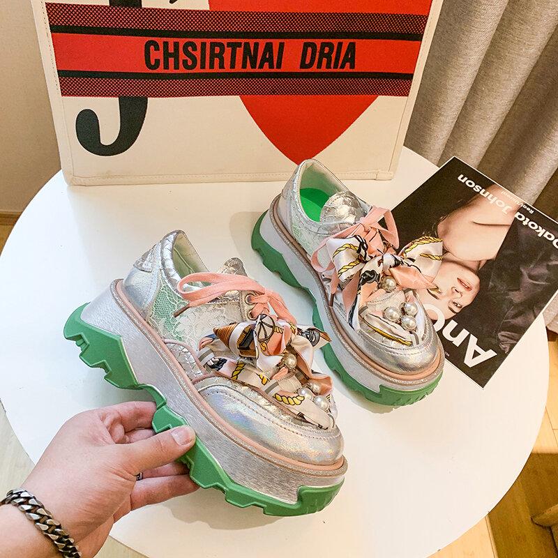 Thiết Kế Giày Nữ Giày Nữ 2021 Mới Ngọc Trai Thời Trang Lụa Cổ Nữ Thoáng Khí Đế Giày Người Phụ Nữ Rổ Femme