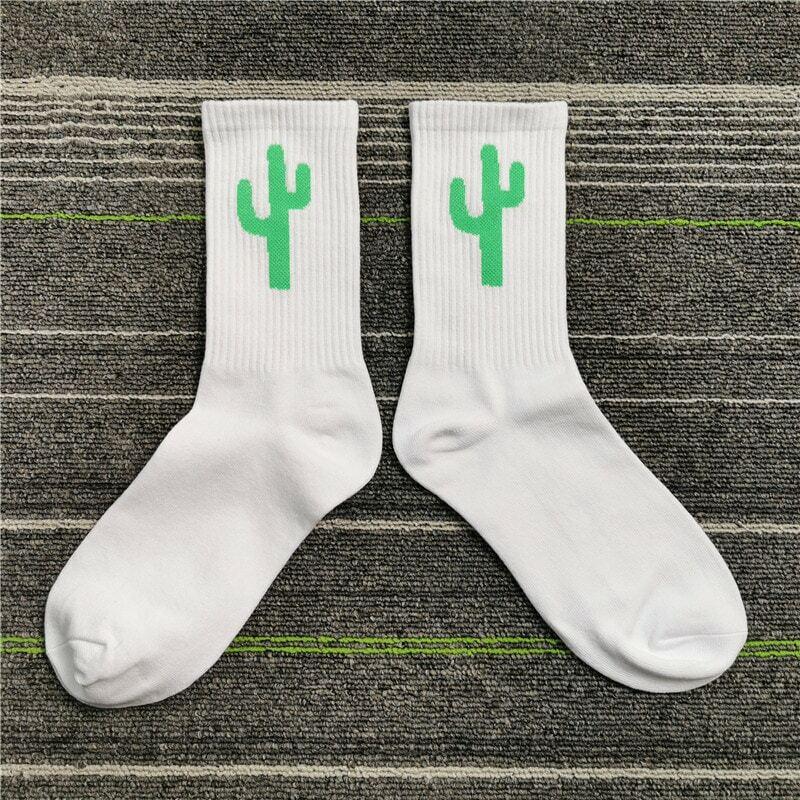 Espinosas punzante púas espinoso Cactus verde caliente divertido equipo de la calle de moda de calcetines de rayas de algodón de dibujos animados fresco Simple salvaje Harajuku