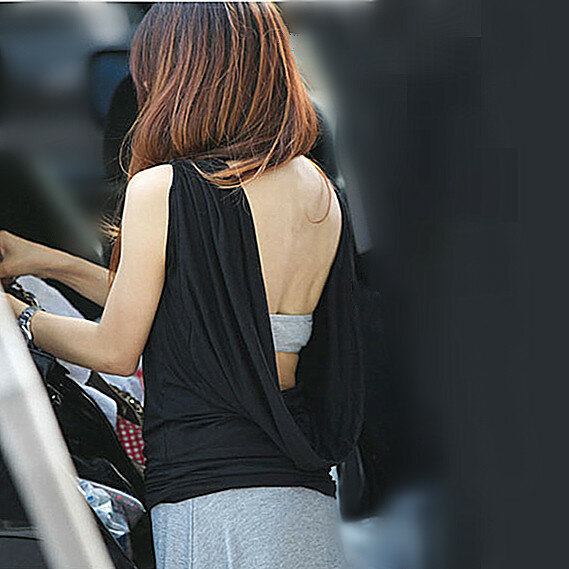 Spring Summer Korean New Modal Women's Top Bottoming Shirt Nightclub Sexy Backless Sleeveless T-shirt Fashion