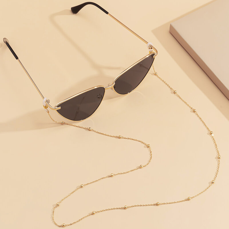 Lacteo-Cadena de bolas de hierro Steampunk para mujer, collar largo/gafas, correa para el cuello, gafas de Metal, accesorios de decoración de joyería