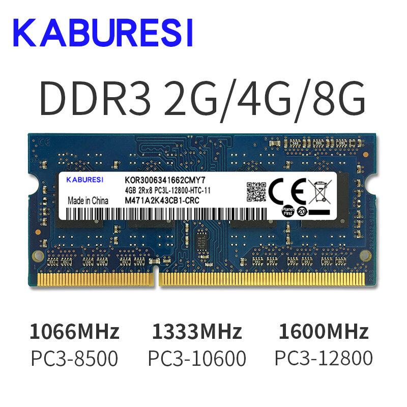Kabures العلامة التجارية جديد مختومة DDR3 2GB 4GB 1066mhz 1333 1600 PC3-12800/8500/10600 محمول RAM الذاكرة/عمر الضمان شحن مجاني