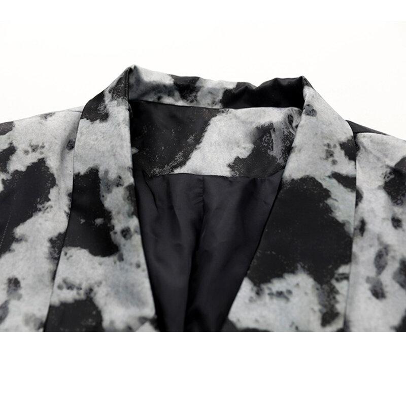 معطف بلازير نسائي موضة الخريف بطباعة قوطية مفرد الصدر جيوب بأكمام طويلة نمط إنجلترا ملابس خارجية فضفاضة للنساء
