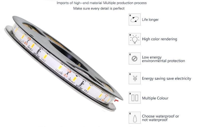 Tira de luces Led RGB 2835 5050, resistente al agua, 1M, 2M, 3M, 4M, 5M, 60Led/M, 12V, lámpara de diodo Flexible, retroiluminación de TV