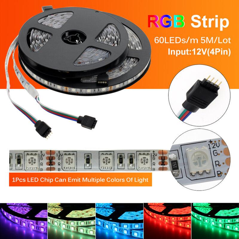 HA CONDOTTO La Striscia 5050 DC12V 60LEDs/m Flessibile HA CONDOTTO LA Luce RGB RGBW 5050 HA CONDOTTO La Striscia 300LEDs 5 m/lotto