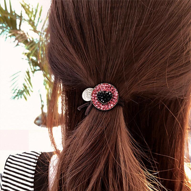 South Korea Diamond Set Hairband Dongdaemun New Ins Internet Famous Leopard Print Hair Band Female Hair Elastic Band Simple Hair