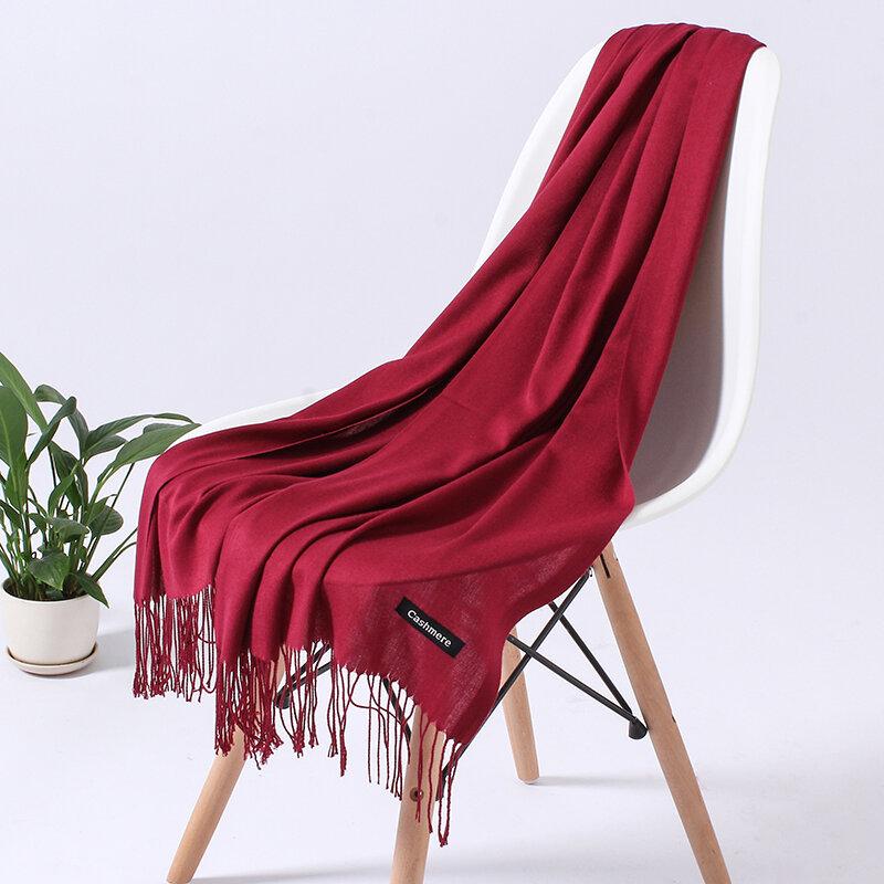 Bufanda de Cachemira para mujer, chales largos con borlas, estilo Pashmina, Hijabs de invierno, Color liso, a la moda, 2021