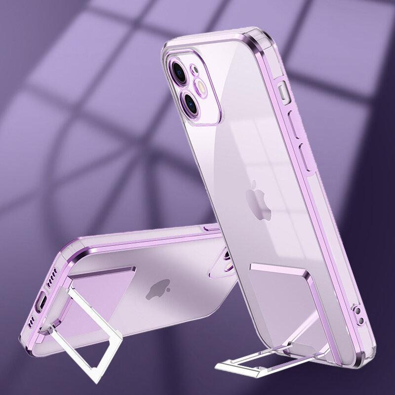 تصفيح مربع حلقة حامل حامل حافظة للآيفون 11 12 برو ماكس XS X XR SE 2020 7 8 Plus صدمات الوفير شفافة لينة غطاء