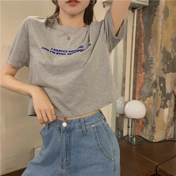 Loose All-Match Short Letter Print Design Sense Niche Top Korean Women's Clothing 2021 New Fashion Short Sleeve T-shirt