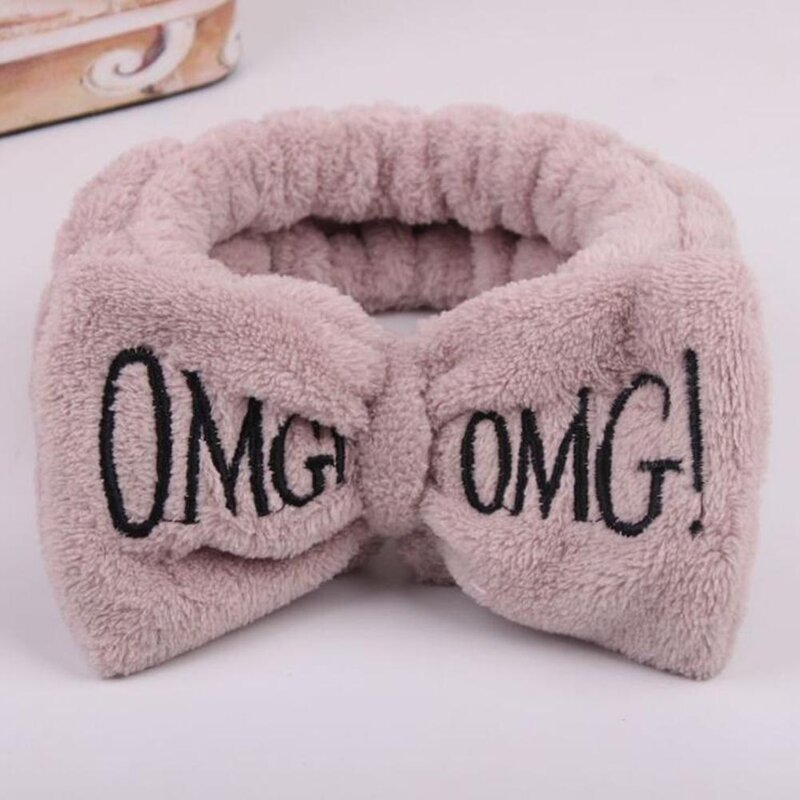 Hot New OMG Letter Coral Fleece Wash Face Bow Hairbands For Women Girls Headbands Hair Bands Turban Hair Accessories Headwear