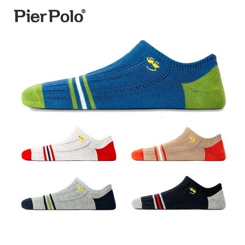 PIER POLO-Calcetines informales de algodón con sonrisa para hombre, pantuflas invisibles, bordadas, 5 par/lote