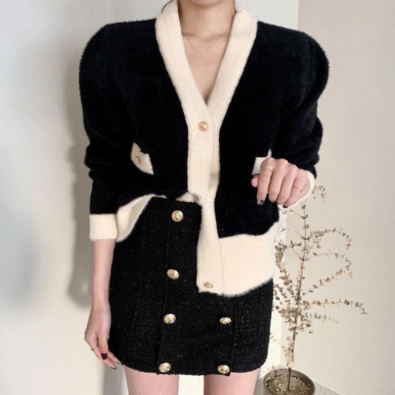 Coreano Chic Otoño e Invierno diseño de Color de contraste felpa de punto Cardigan suelto adelgazamiento solo Breasted con cuello en V suéter abrigo