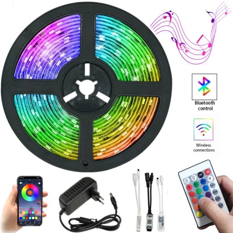 Tira de luz LED RGB SMD 5050 2835 cinta 20M 15M 10M 7,5 M 5M cinta de DC12V de Control de música Bluetooth