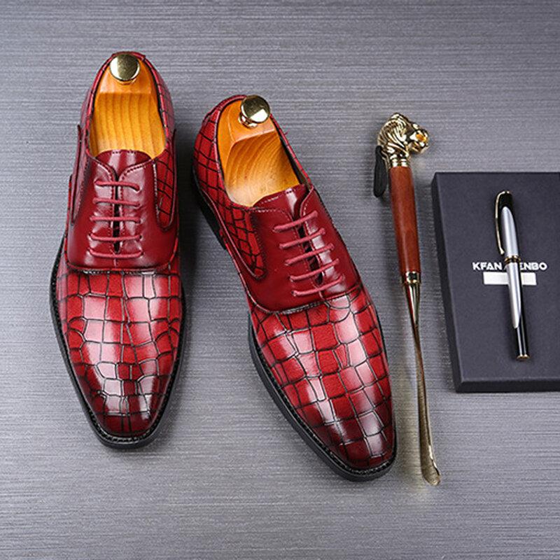 Nouvelle chaussure en cuir verni ombré pour hommes, souliers de mariage de luxe et à la mode pour marié, chaussures Oxford de style italien, grande taille 48