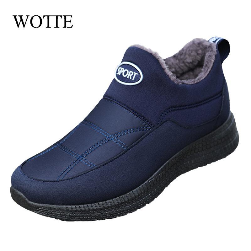 WOTTE-bottes de neige pour hommes, bottes de conduite, en coton, peluche, pour garder au chaud, mocassins de qualité, hiver