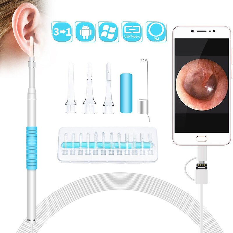 في الأذن تنظيف المنظار USB البصرية الأذن ملعقة 5.5 مللي متر 0.3MP كاميرا صغيرة أندرويد قطعة خلال أذني منظار الأذن Borescope أداة الرعاية الصحية