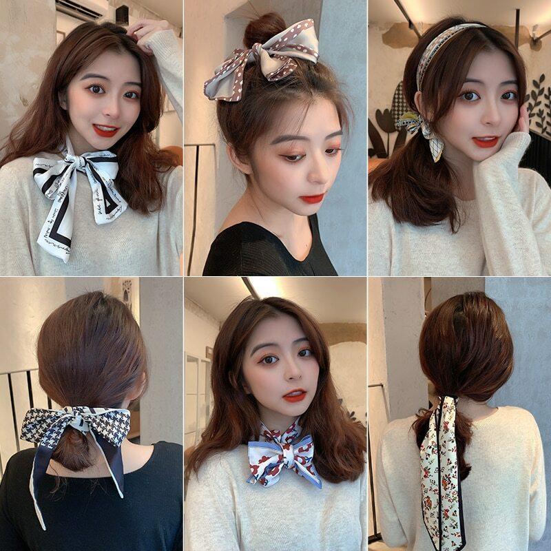 Silk Scarf Hair Band Female Tie Hair Accessories Immortal Headband French Ribbon Bowknot Hair Accessories Hair Rope All-Match
