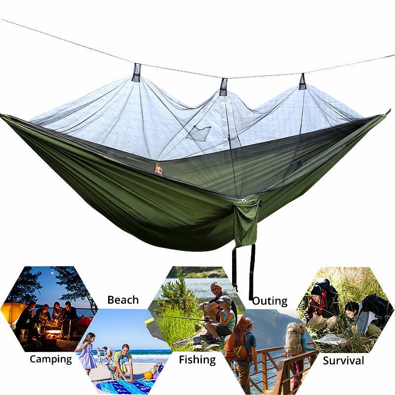 2 pièces Double personne hamac Parachute Portable en plein air Camping intérieur maison jardin couchage hamac lit 300kg livraison gratuite