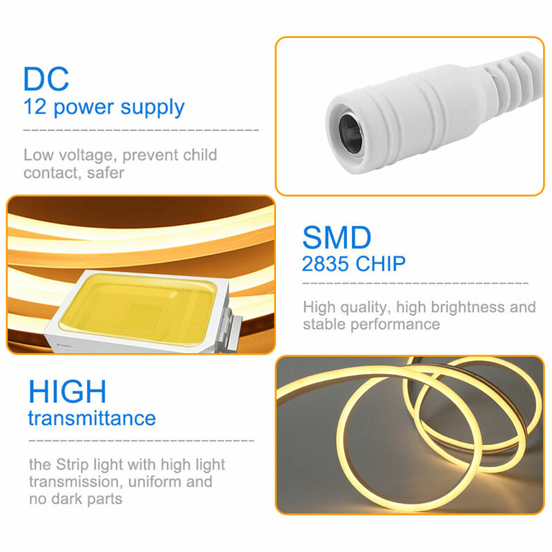 DC12V 색상 변경 RGB LED 스트립 손 스윕 센서 방수 RGB LED 네온 조명 스트립 SMD2835 1M-5M 장식용