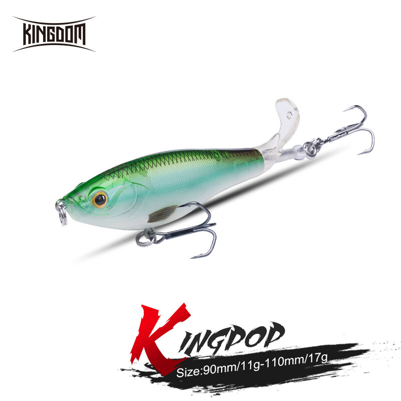 Kingdom ใหม่ใบพัด Popper เหยื่อตกปลา9ซม.11ซม.Hard เหยื่อหางหมุน Topwater Popper คุณภาพสูงลอย wobblers