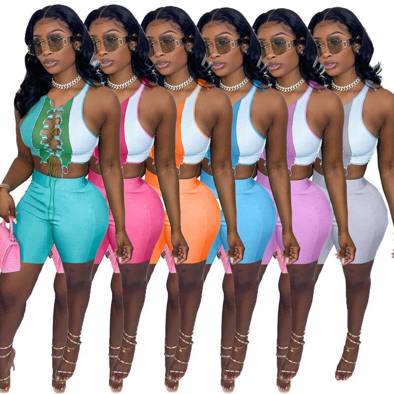 Femme près du corps sport T shirt top pantalon long deux pièces combinaison Club Set Casual