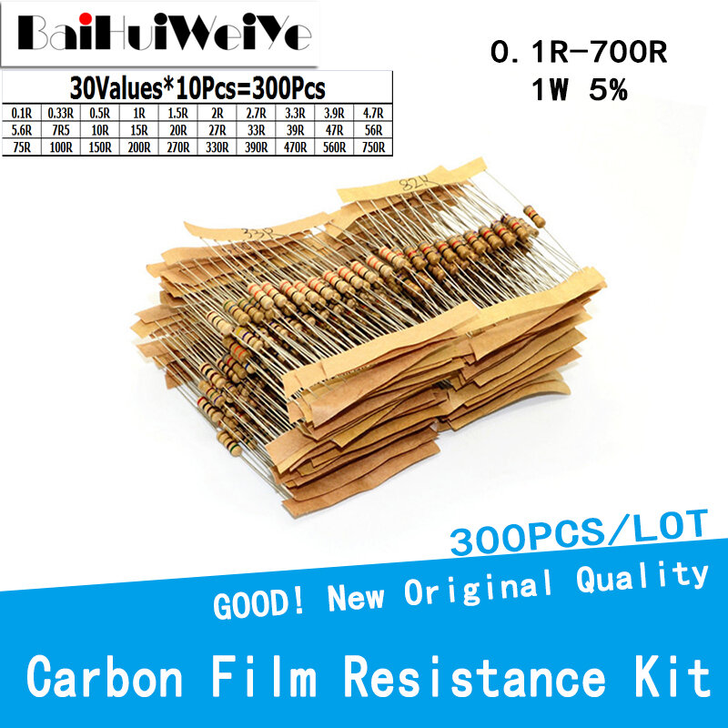 300PCS/LOTE 1W 5% 탄소 필름 저항 키트 30 값 * 10Pcs 0.1R To 700R 옴 저항 세트 0.33R 0.5R 1R 1R5 2R 2R7 3R3 3R9 5R6