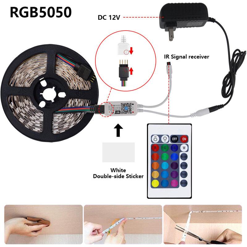 Striscia LED RGB 5050 flessibile LED lampada nastro nastro Controller WIFI DC 12V RGB diodo nastro per camera fai da te alexa 5m 10m 15m 20m