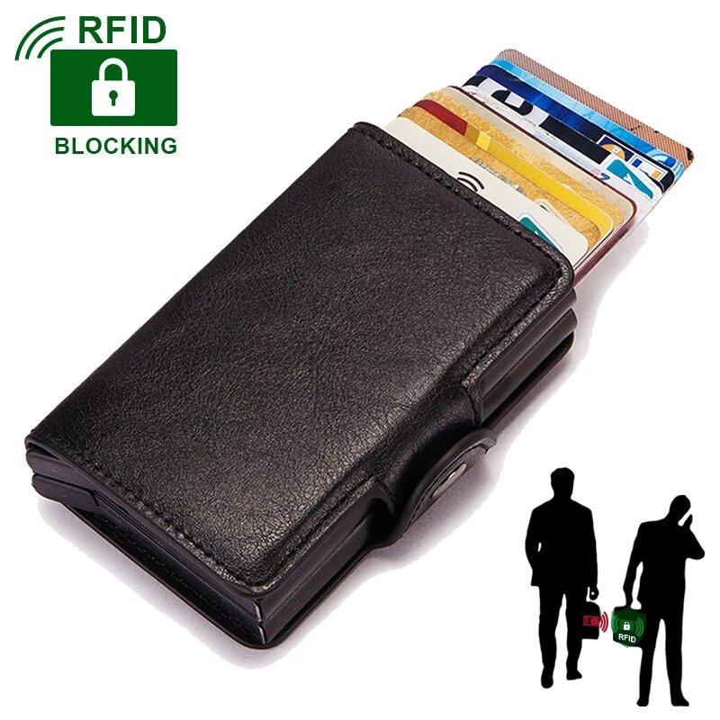 Hombres cartera caja de Metal de aluminio de doble caja de cuero tarjeteros para las mujeres Slim Anti proteger viajes tarjetero ID