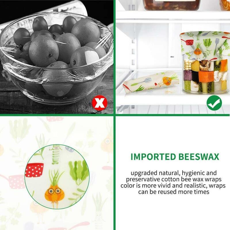3 팩 밀랍 랩 친환경 주방 랩 교체 유기농 천연 꿀벌 왁스 재사용 가능한 혼합 패턴 밀랍 식품 랩