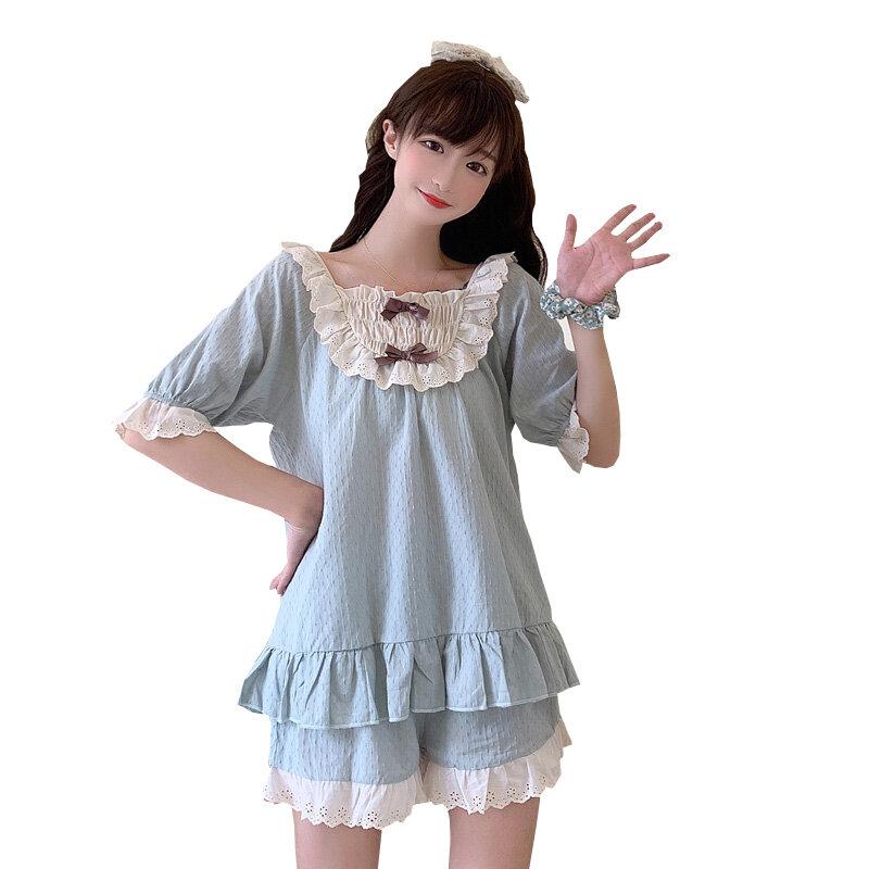Parte de arriba de color azul para exteriores, pijama fresco con bonito lazo para estudiantes, pijama para tiempo libre