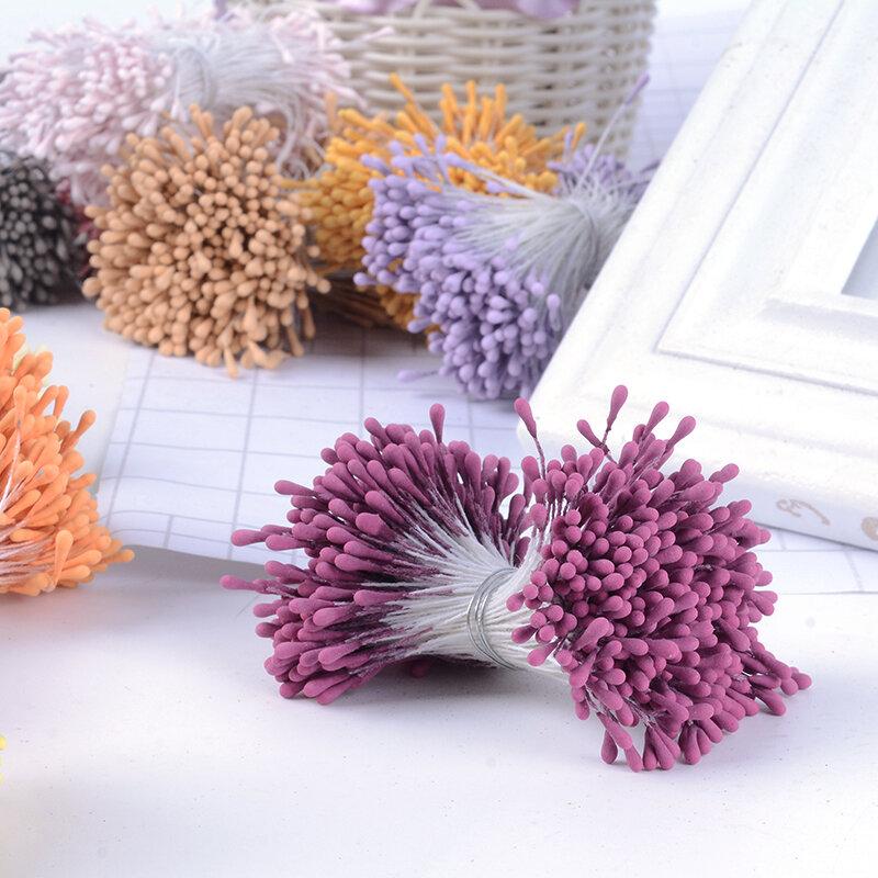 400 pièces 1.5mm Mini étamine sucre fleurs artificielles pour mariage maison décorations de noël bricolage Scrapbooking boîte artisanat Double têtes