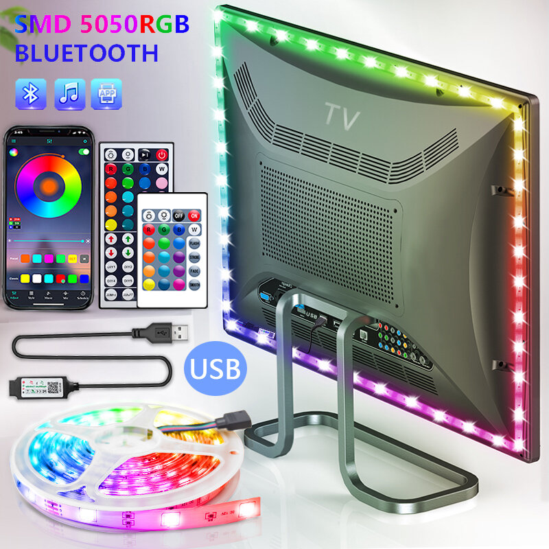 Bluetooth cintas de luz LED USB RGB SMD 5050 DC5V lámpara Flexible cinta de iluminación de fondo de TV luces LED