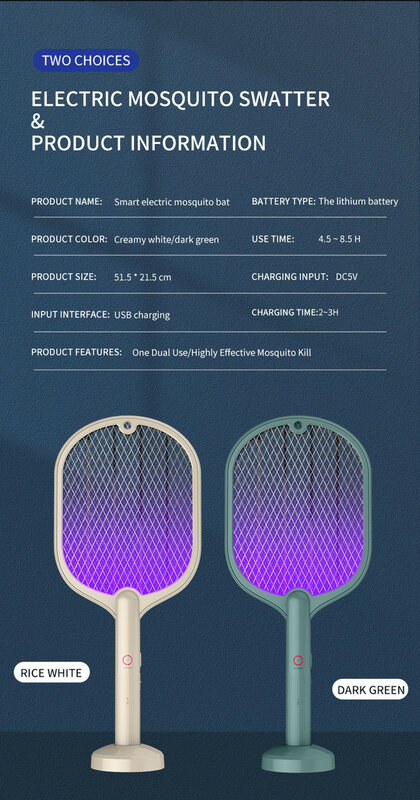 새로운 지능형 가정용 2In1 모기 킬러 램프 전기 충격 모기 찰싹 때림 USB Recharg eable Bug Zapper Mosquito Trap