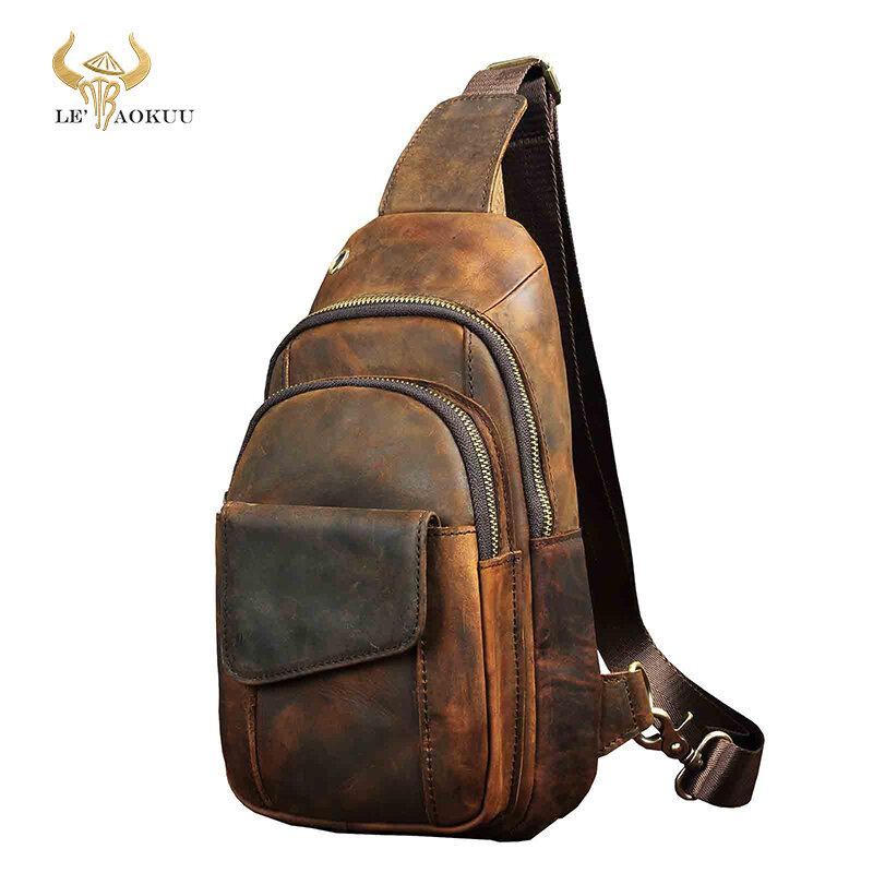 """Hot Sale Men Crazy Horse Leather Casual Fashion Chest Sling Bag 8"""" Tablet Design One Shoulder Bag Cross body Bag Male 8013-d"""