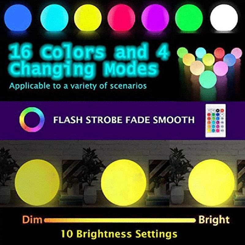 16 색 플로팅 풀 조명 RGB 원격 LED 조경 공 야간 조명 온수 욕조 야간 조명 장난감 램프 안뜰 수영장 파티 장식