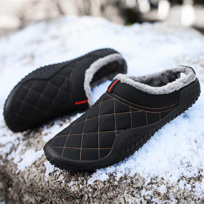 Pantoufles en coton pour hommes, chaussures d'extérieur imperméables et résistantes au froid, en peluche, chaudes, grande taille 39-48, hiver