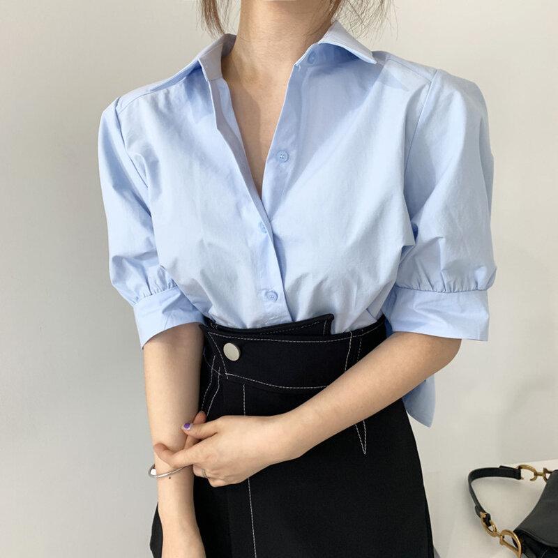 Blusa corta con diseño plisado para mujer, blusa de Color liso con solapa y manga abotonada, estilo coreano, novedad de verano 2021