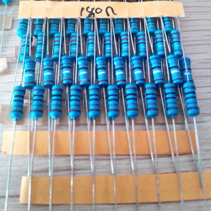 Juego de resistencias de película de Metal 300, resistencia 750 Uds. 1 ~ 1% Ohm 1/2w, 30 tipos * 10 Uds = 300 Uds., envío gratis