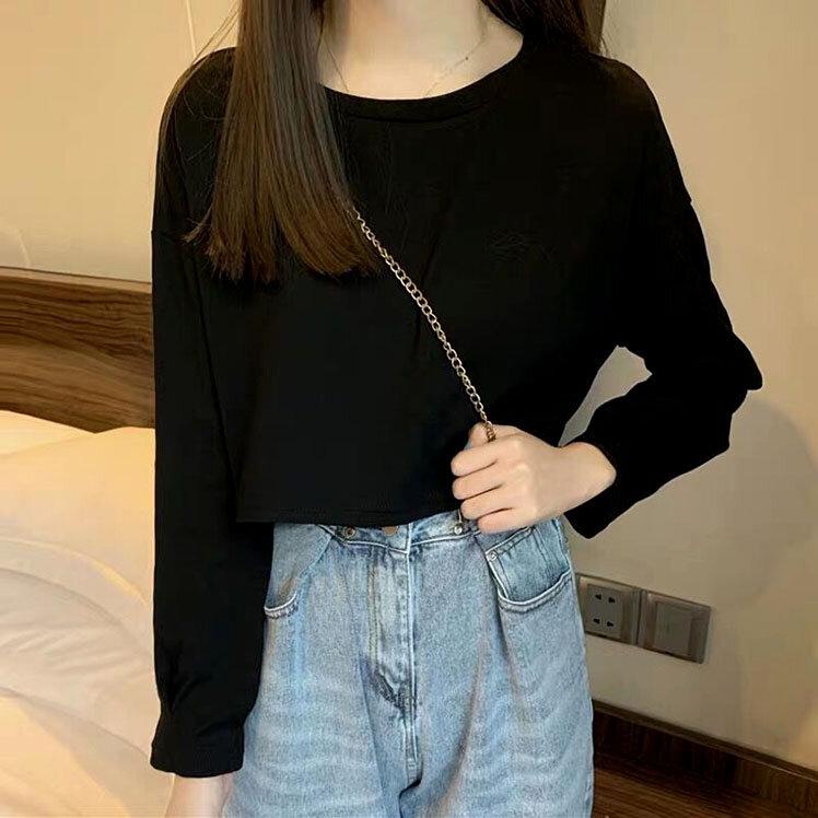 Camiseta corta de primavera y verano para mujer, camiseta de estilo coreano de cintura alta, Top de manga larga