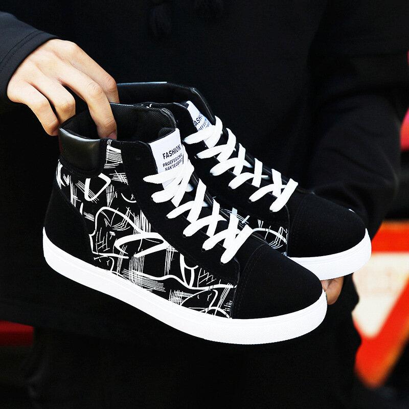 Baskets montantes vulcanisées pour hommes, chaussures à plateforme de qualité, nouvelle collection