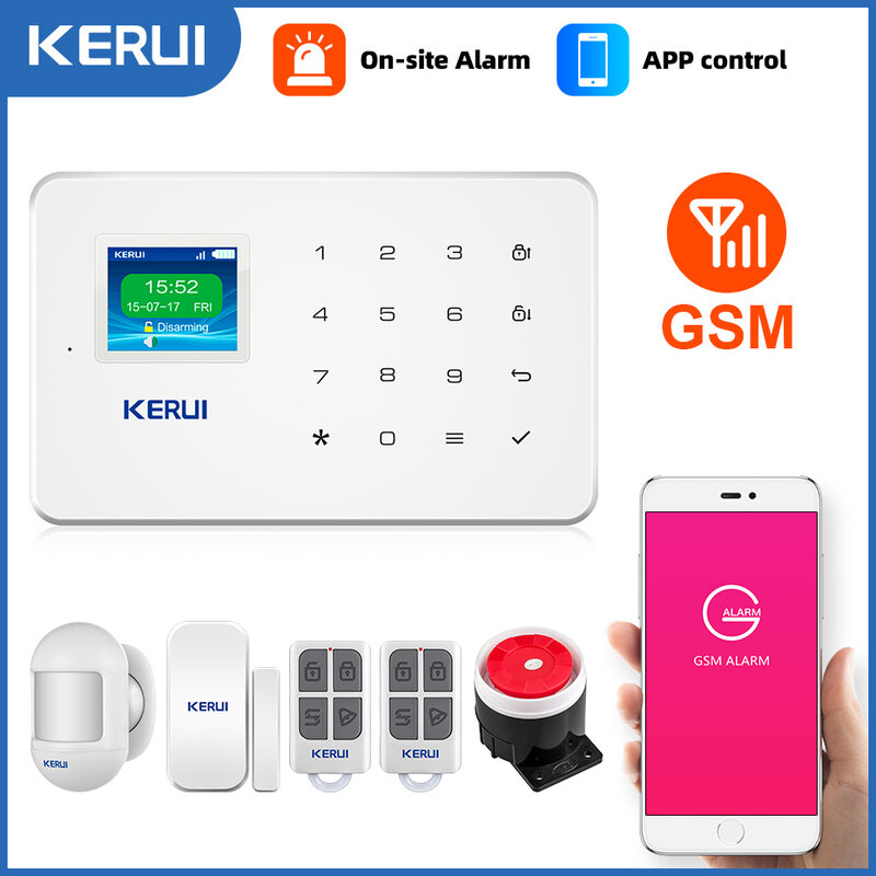 KERUI-نظام إنذار أمان GSM ، لاسلكي ، للمنزل المتصل ، مع تطبيق SMS ، مستشعر الحركة ، مضاد للسطو ، كاميرا IP