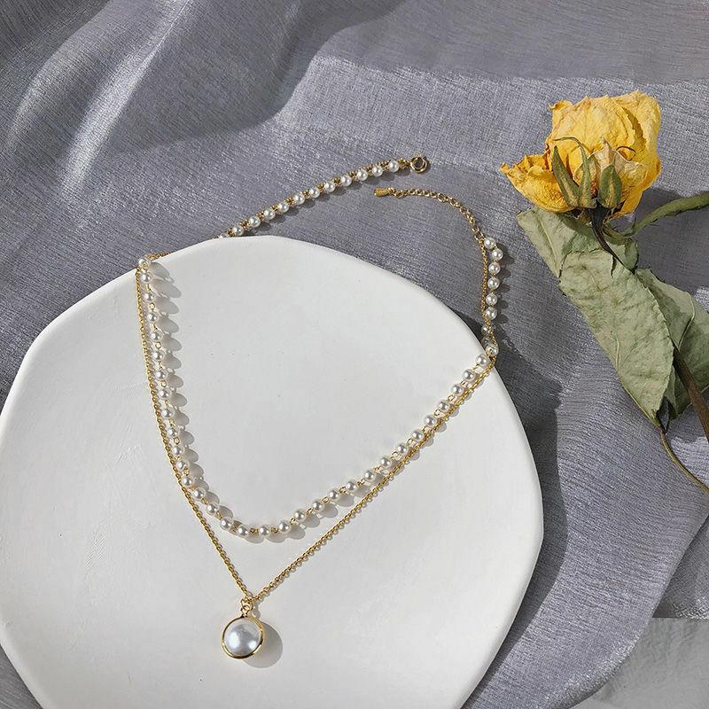 موضة جديدة لعام 2021 قلادة Kpop مصنوعة من اللؤلؤ سلسلة بدلاية على شكل طبقة مزدوجة لطيفة للسيدات مجوهرات هدية للبنات