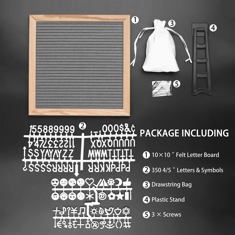 10x10 بوصة مربع ورأى لوحة الرسائل خشب البلوط 460 رسائل بلاستيكية حامل الرباط حقيبة شعر لوح أحرف ديكور المنزل