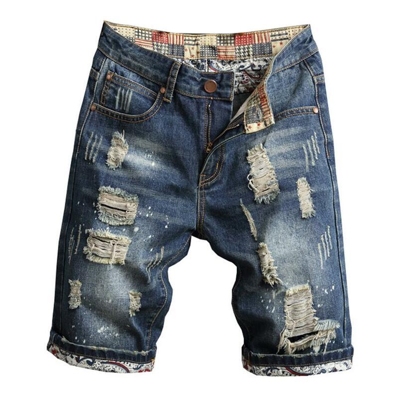 Pantalones Cortos De Mezclilla Rasgados Retro Para Hombre Vaqueros Rotos De Talla Grande Ropa De Calle De Verano Pantalones Cortos