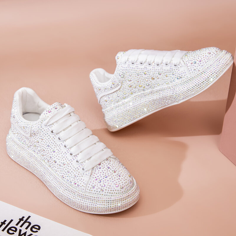 Women's Sneakers Summer Rhinestones Large Size 41 42 43 Lace-up White Casual Girl Shoes Platform Sneakers Women Fashion Bling