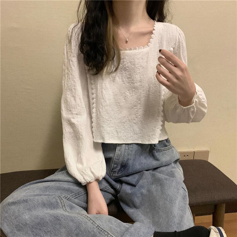 Off-hombro Collar cuadrado superior de las mujeres de manga de burbuja Slim Fit Jersey adelgazante camisa verano 2021new camisa corta